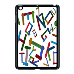 Colorful Letters From Wood Ice Cream Stick Isolated On White Background Apple iPad Mini Case (Black)