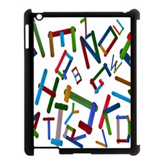 Colorful Letters From Wood Ice Cream Stick Isolated On White Background Apple iPad 3/4 Case (Black)
