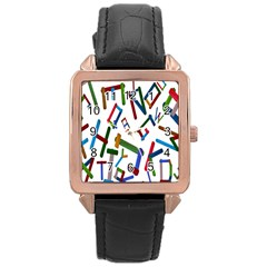 Colorful Letters From Wood Ice Cream Stick Isolated On White Background Rose Gold Leather Watch