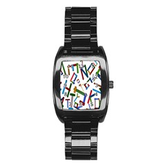 Colorful Letters From Wood Ice Cream Stick Isolated On White Background Stainless Steel Barrel Watch
