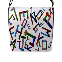 Colorful Letters From Wood Ice Cream Stick Isolated On White Background Flap Messenger Bag (L)