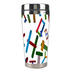 Colorful Letters From Wood Ice Cream Stick Isolated On White Background Stainless Steel Travel Tumblers