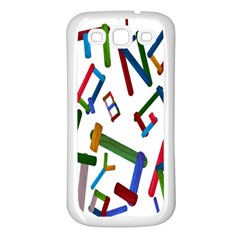 Colorful Letters From Wood Ice Cream Stick Isolated On White Background Samsung Galaxy S3 Back Case (White)