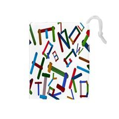 Colorful Letters From Wood Ice Cream Stick Isolated On White Background Drawstring Pouches (Medium)