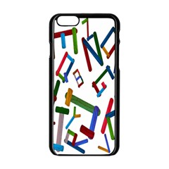 Colorful Letters From Wood Ice Cream Stick Isolated On White Background Apple iPhone 6/6S Black Enamel Case