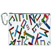 Colorful Letters From Wood Ice Cream Stick Isolated On White Background Canvas Cosmetic Bag (XL)