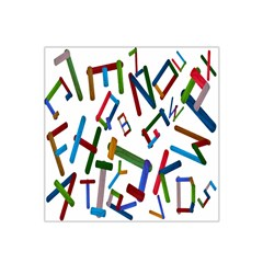 Colorful Letters From Wood Ice Cream Stick Isolated On White Background Satin Bandana Scarf