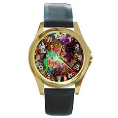Alien World Digital Computer Graphic Round Gold Metal Watch