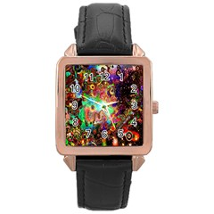 Alien World Digital Computer Graphic Rose Gold Leather Watch