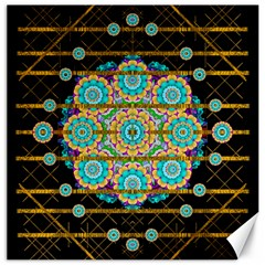Gold Silver And Bloom Mandala Canvas 12  X 12