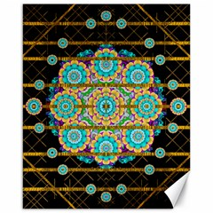 Gold Silver And Bloom Mandala Canvas 16  X 20