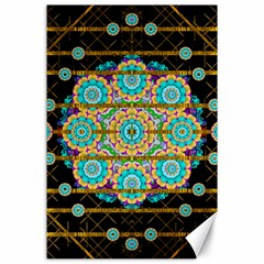 Gold Silver And Bloom Mandala Canvas 24  X 36
