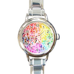 Colorful Colors Digital Pattern Round Italian Charm Watch