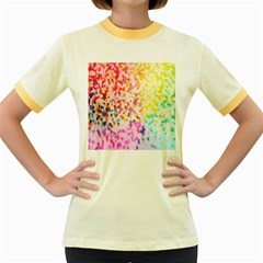 Colorful Colors Digital Pattern Women s Fitted Ringer T Shirts