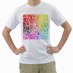 Colorful Colors Digital Pattern Men s T-Shirt (White) (Two Sided)