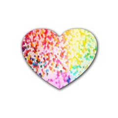Colorful Colors Digital Pattern Heart Coaster (4 Pack)