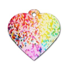 Colorful Colors Digital Pattern Dog Tag Heart (two Sides)