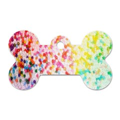Colorful Colors Digital Pattern Dog Tag Bone (two Sides)