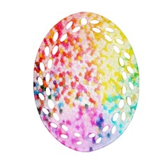 Colorful Colors Digital Pattern Oval Filigree Ornament (Two Sides)