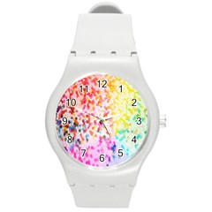 Colorful Colors Digital Pattern Round Plastic Sport Watch (M)