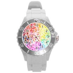 Colorful Colors Digital Pattern Round Plastic Sport Watch (L)