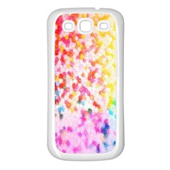 Colorful Colors Digital Pattern Samsung Galaxy S3 Back Case (White)