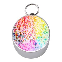 Colorful Colors Digital Pattern Mini Silver Compasses