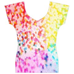 Colorful Colors Digital Pattern Women s V-Neck Cap Sleeve Top