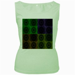 Creative Digital Pattern Computer Graphic Women s Green Tank Top