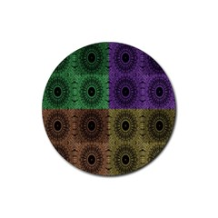 Creative Digital Pattern Computer Graphic Rubber Round Coaster (4 Pack)