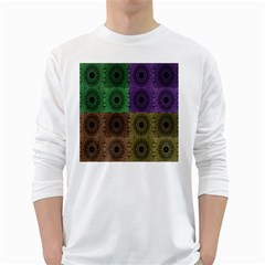Creative Digital Pattern Computer Graphic White Long Sleeve T-Shirts