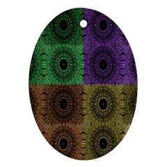 Creative Digital Pattern Computer Graphic Oval Ornament (two Sides)