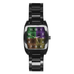Creative Digital Pattern Computer Graphic Stainless Steel Barrel Watch