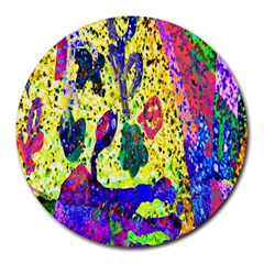Grunge Abstract Yellow Hand Grunge Effect Layered Images Of Texture And Pattern In Yellow White Black Round Mousepads