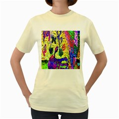 Grunge Abstract Yellow Hand Grunge Effect Layered Images Of Texture And Pattern In Yellow White Black Women s Yellow T-Shirt