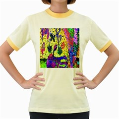 Grunge Abstract Yellow Hand Grunge Effect Layered Images Of Texture And Pattern In Yellow White Black Women s Fitted Ringer T Shirts