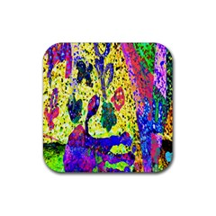 Grunge Abstract Yellow Hand Grunge Effect Layered Images Of Texture And Pattern In Yellow White Black Rubber Coaster (square)