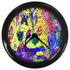 Grunge Abstract Yellow Hand Grunge Effect Layered Images Of Texture And Pattern In Yellow White Black Wall Clocks (black)