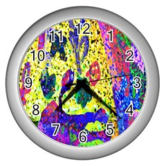 Grunge Abstract Yellow Hand Grunge Effect Layered Images Of Texture And Pattern In Yellow White Black Wall Clocks (Silver)