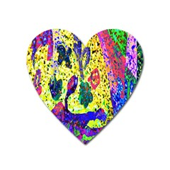 Grunge Abstract Yellow Hand Grunge Effect Layered Images Of Texture And Pattern In Yellow White Black Heart Magnet