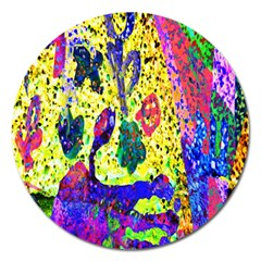 Grunge Abstract Yellow Hand Grunge Effect Layered Images Of Texture And Pattern In Yellow White Black Magnet 5  (round)