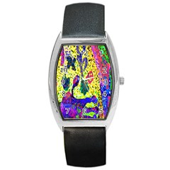 Grunge Abstract Yellow Hand Grunge Effect Layered Images Of Texture And Pattern In Yellow White Black Barrel Style Metal Watch