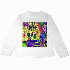 Grunge Abstract Yellow Hand Grunge Effect Layered Images Of Texture And Pattern In Yellow White Black Kids Long Sleeve T-Shirts