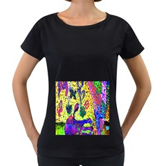 Grunge Abstract Yellow Hand Grunge Effect Layered Images Of Texture And Pattern In Yellow White Black Women s Loose Fit T Shirt (black)