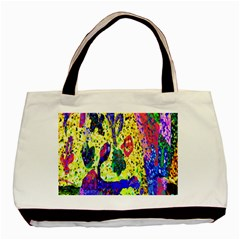 Grunge Abstract Yellow Hand Grunge Effect Layered Images Of Texture And Pattern In Yellow White Black Basic Tote Bag