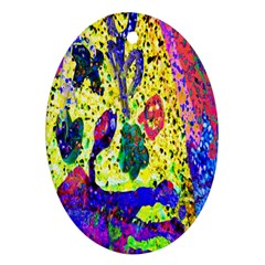 Grunge Abstract Yellow Hand Grunge Effect Layered Images Of Texture And Pattern In Yellow White Black Oval Ornament (Two Sides)