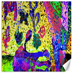 Grunge Abstract Yellow Hand Grunge Effect Layered Images Of Texture And Pattern In Yellow White Black Canvas 16  X 16