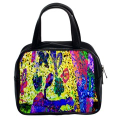 Grunge Abstract Yellow Hand Grunge Effect Layered Images Of Texture And Pattern In Yellow White Black Classic Handbags (2 Sides)