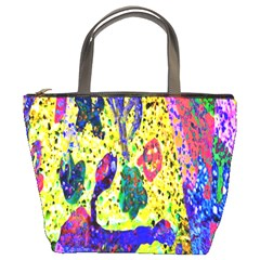 Grunge Abstract Yellow Hand Grunge Effect Layered Images Of Texture And Pattern In Yellow White Black Bucket Bags