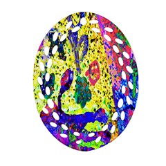 Grunge Abstract Yellow Hand Grunge Effect Layered Images Of Texture And Pattern In Yellow White Black Oval Filigree Ornament (two Sides)